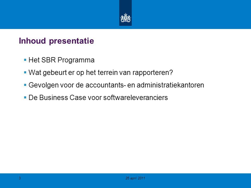 Inhoud presentatie Het SBR Programma