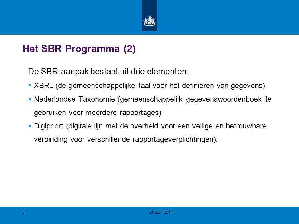 Het SBR Programma (2) De SBR-aanpak bestaat uit drie elementen: