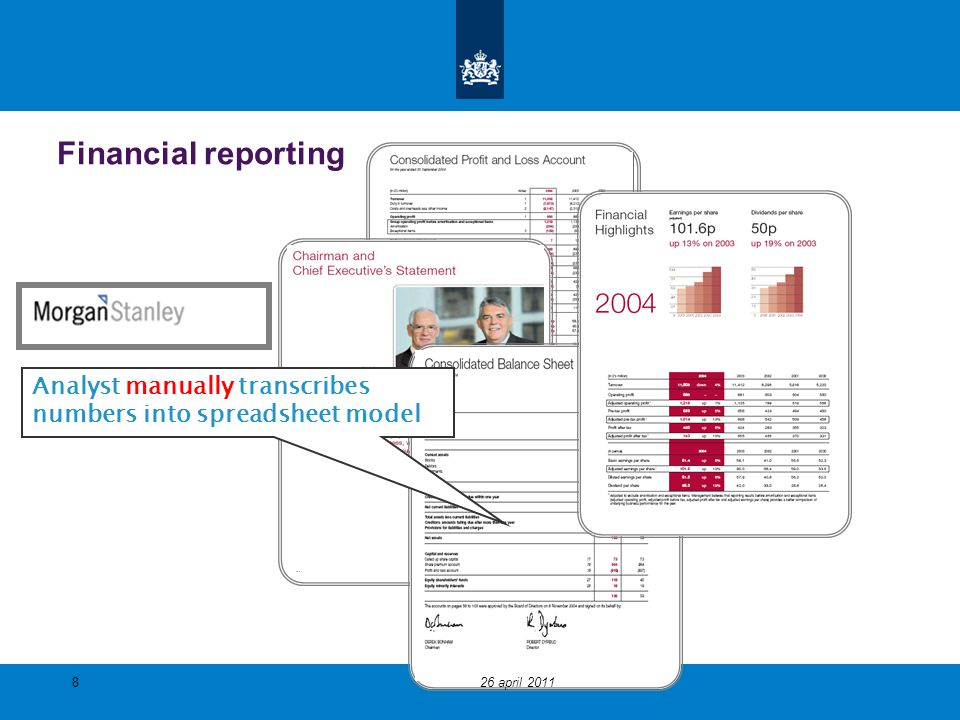 Financial reporting Analyst manually transcribes numbers into spreadsheet model 26 april 2011