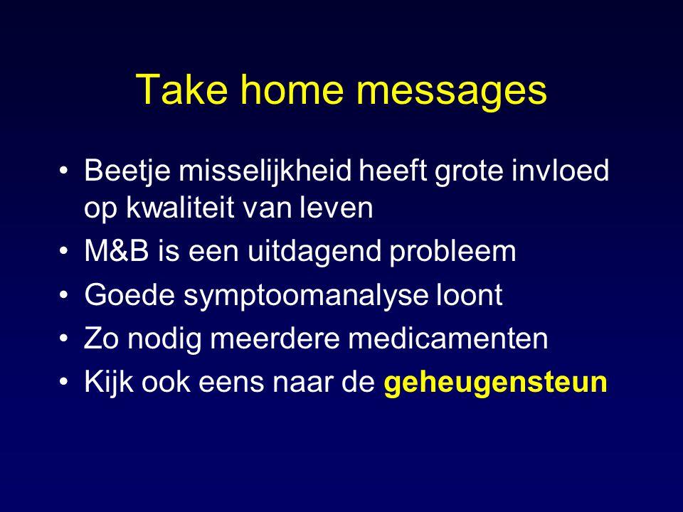 Take home messages Beetje misselijkheid heeft grote invloed op kwaliteit van leven. M&B is een uitdagend probleem.