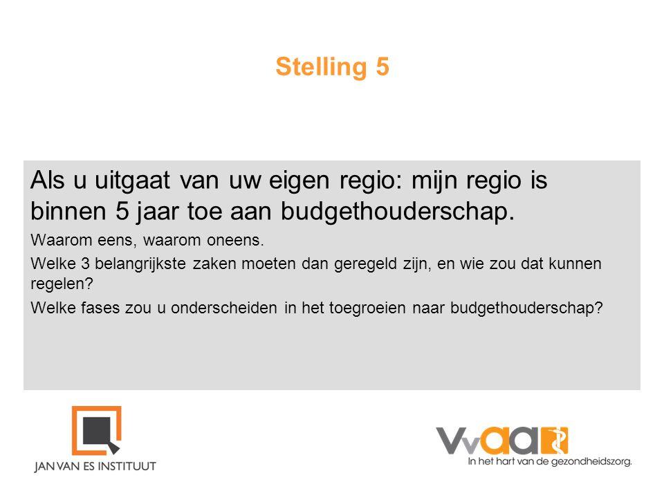 Stelling 5 Als u uitgaat van uw eigen regio: mijn regio is binnen 5 jaar toe aan budgethouderschap.