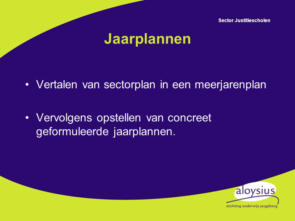 Jaarplannen Vertalen van sectorplan in een meerjarenplan