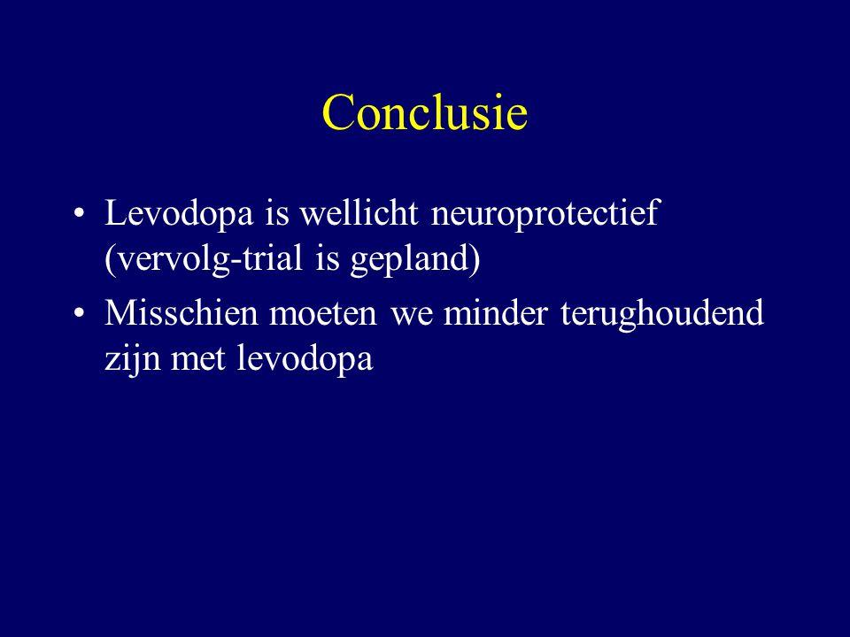 Conclusie Levodopa is wellicht neuroprotectief (vervolg-trial is gepland) Misschien moeten we minder terughoudend zijn met levodopa.