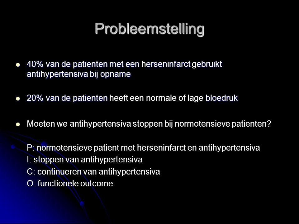 Probleemstelling 40% van de patienten met een herseninfarct gebruikt antihypertensiva bij opname.