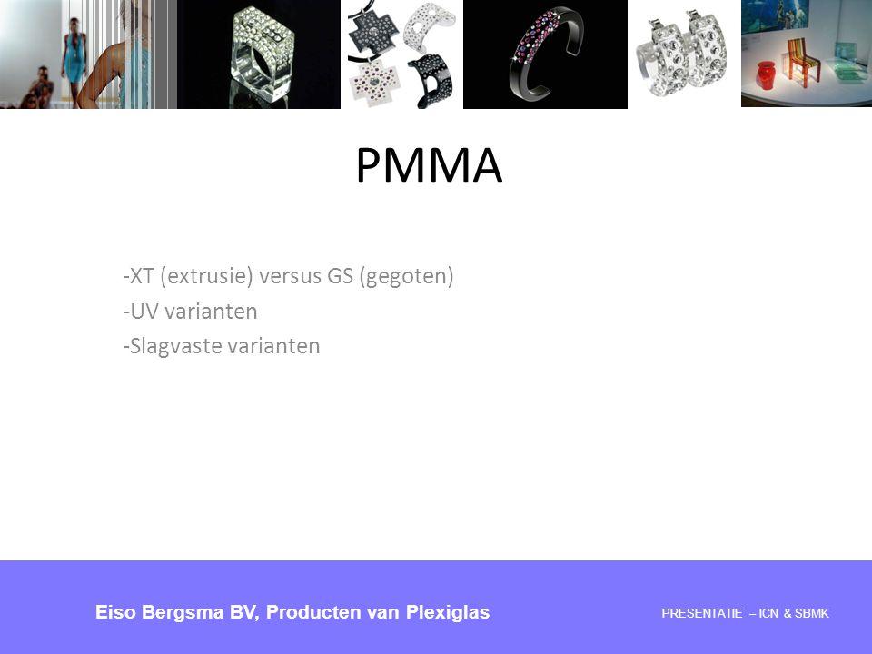 PMMA -XT (extrusie) versus GS (gegoten) -UV varianten