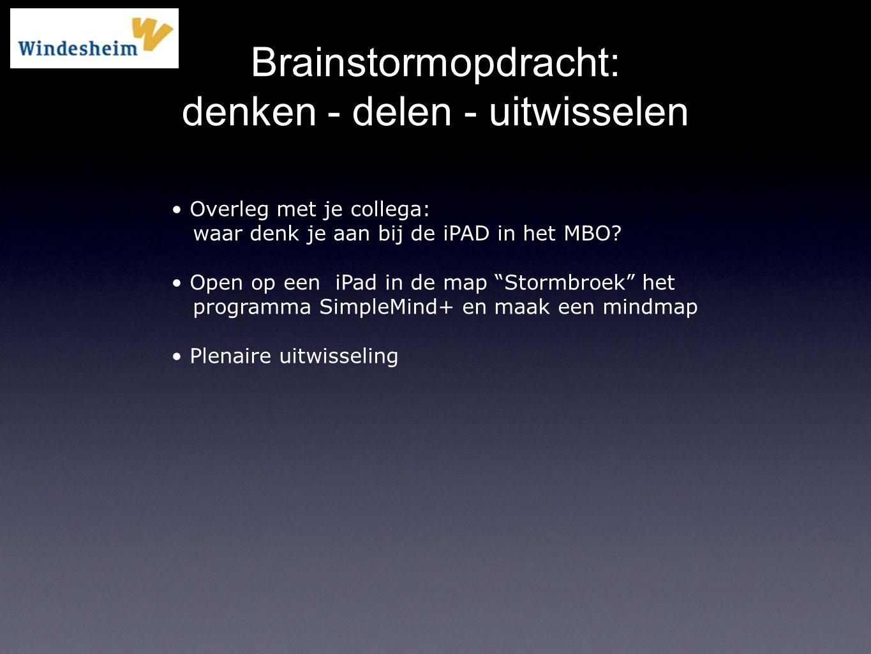 Brainstormopdracht: denken - delen - uitwisselen