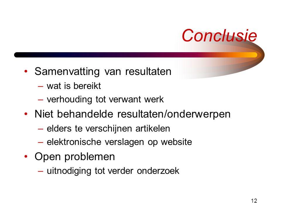 Conclusie Samenvatting van resultaten