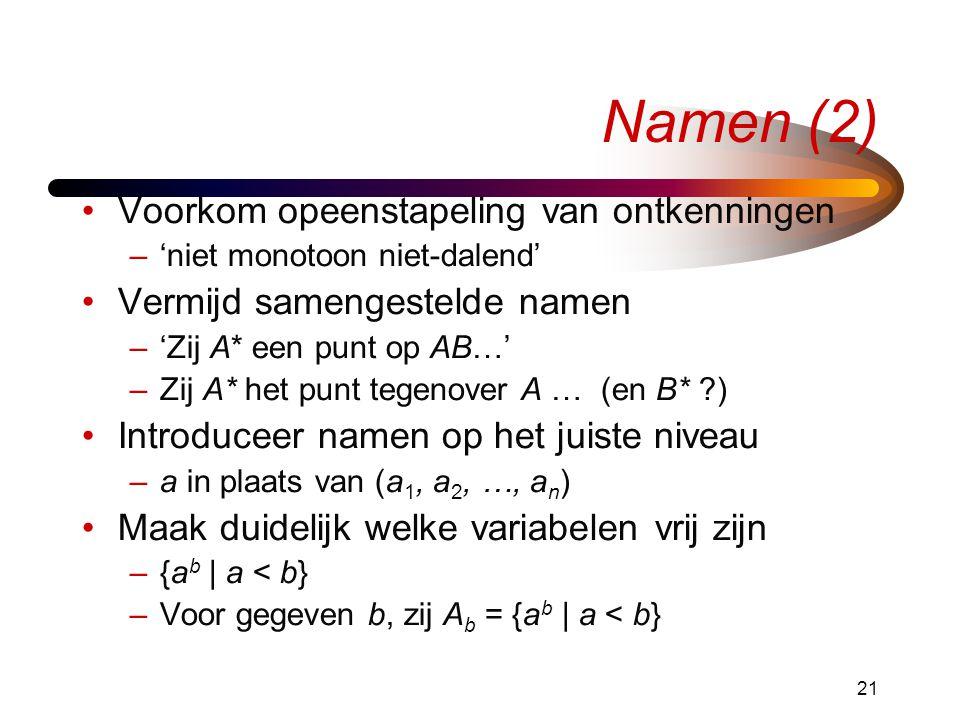 Namen (2) Voorkom opeenstapeling van ontkenningen