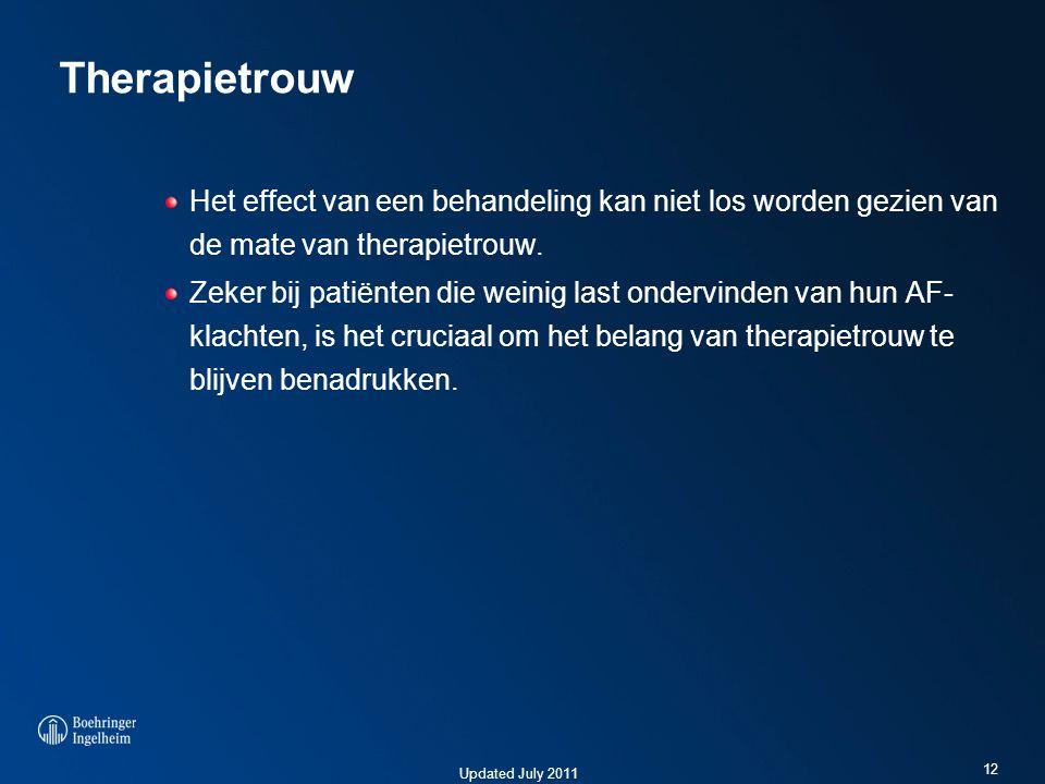 Therapietrouw Het effect van een behandeling kan niet los worden gezien van de mate van therapietrouw.