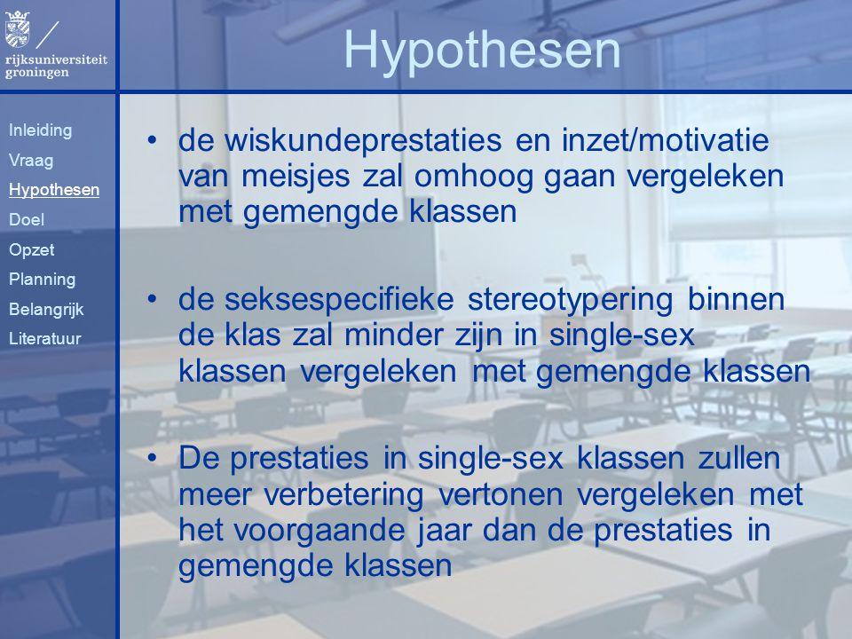 Hypothesen Inleiding. Vraag. Hypothesen. Doel. Opzet. Planning. Belangrijk. Literatuur.