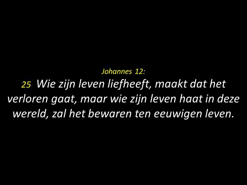 Johannes 12: 25 Wie zijn leven liefheeft, maakt dat het verloren gaat, maar wie zijn leven haat in deze wereld, zal het bewaren ten eeuwigen leven.