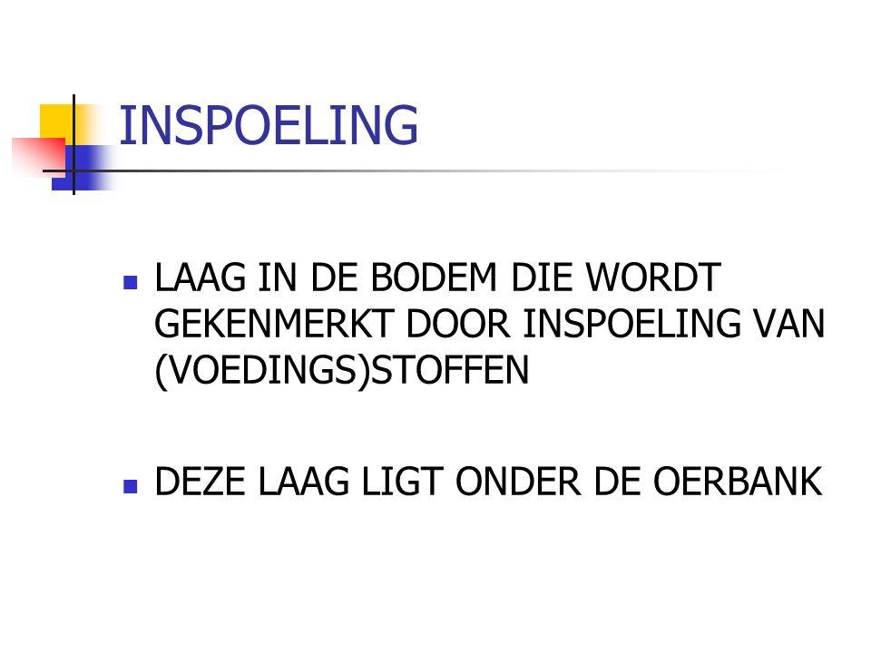 INSPOELING LAAG IN DE BODEM DIE WORDT GEKENMERKT DOOR INSPOELING VAN (VOEDINGS)STOFFEN.