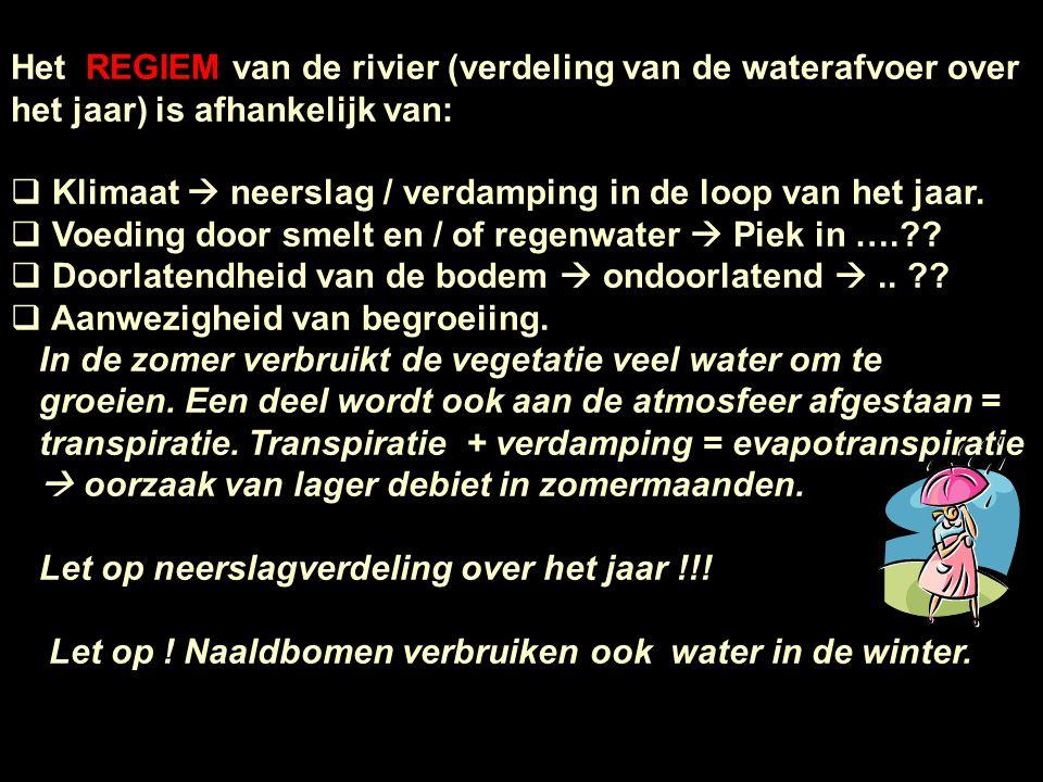 Het REGIEM van de rivier (verdeling van de waterafvoer over het jaar) is afhankelijk van: