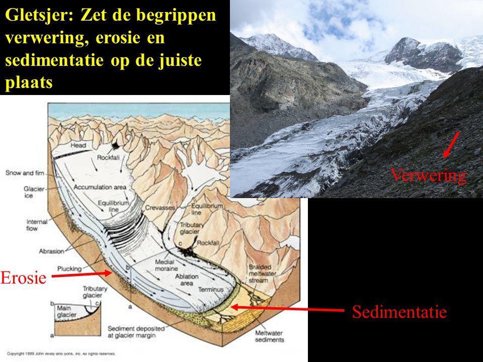 Gletsjer: Zet de begrippen verwering, erosie en sedimentatie op de juiste plaats