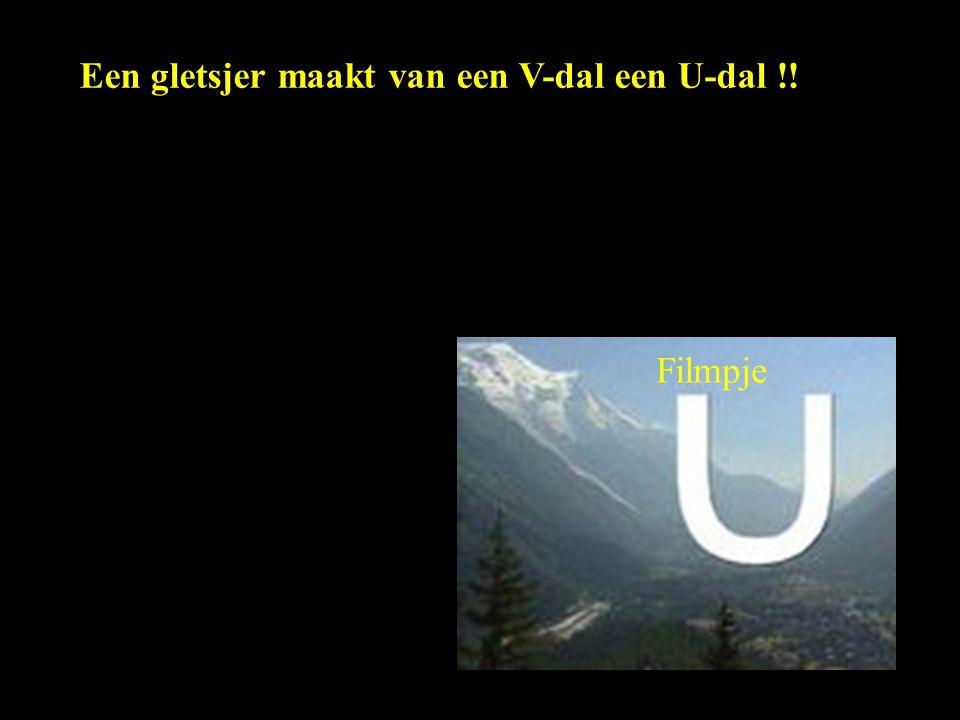 Een gletsjer maakt van een V-dal een U-dal !!