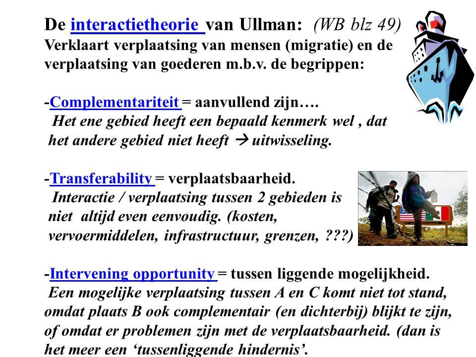 De interactietheorie van Ullman: (WB blz 49) Verklaart verplaatsing van mensen (migratie) en de verplaatsing van goederen m.b.v. de begrippen: