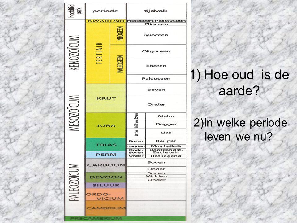1) Hoe oud is de aarde 2)In welke periode leven we nu