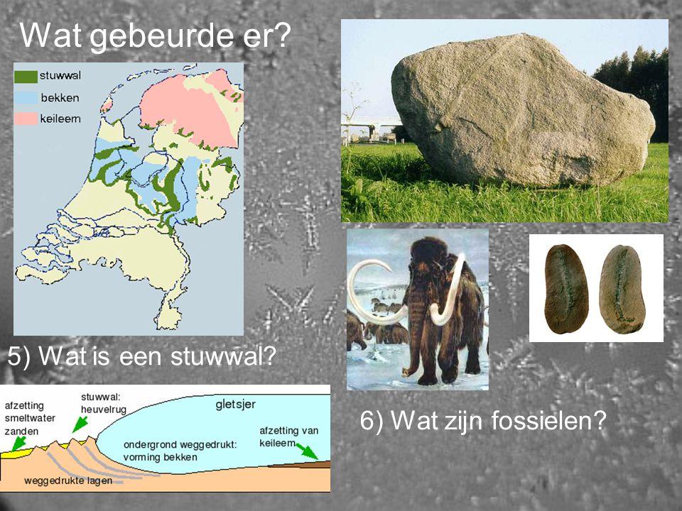 Wat gebeurde er 5) Wat is een stuwwal 6) Wat zijn fossielen