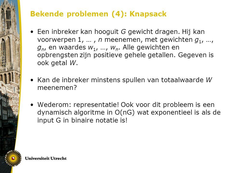Bekende problemen (4): Knapsack
