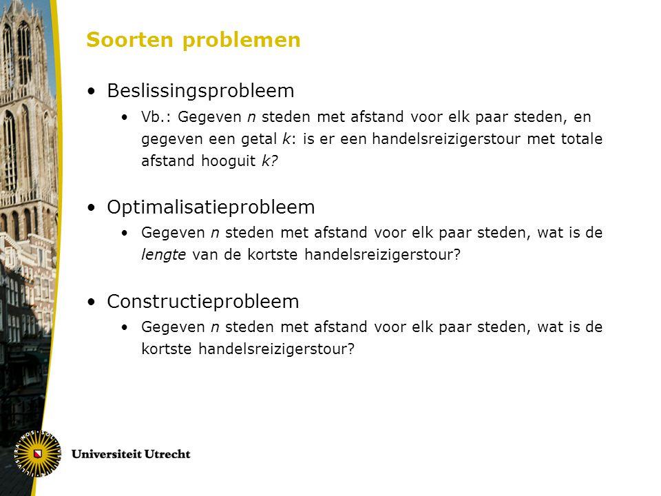Soorten problemen Beslissingsprobleem Optimalisatieprobleem