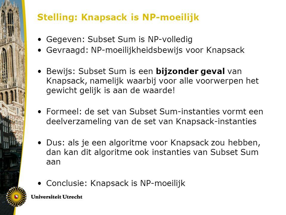 Stelling: Knapsack is NP-moeilijk