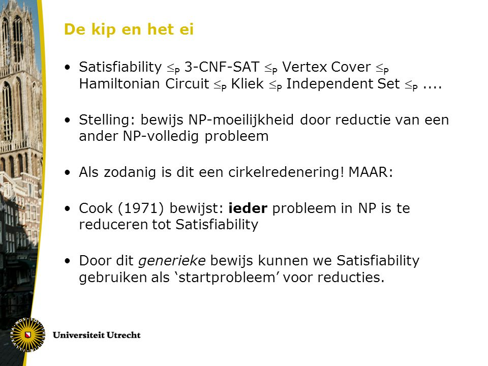 De kip en het ei Satisfiability P 3-CNF-SAT P Vertex Cover P Hamiltonian Circuit P Kliek P Independent Set P ....