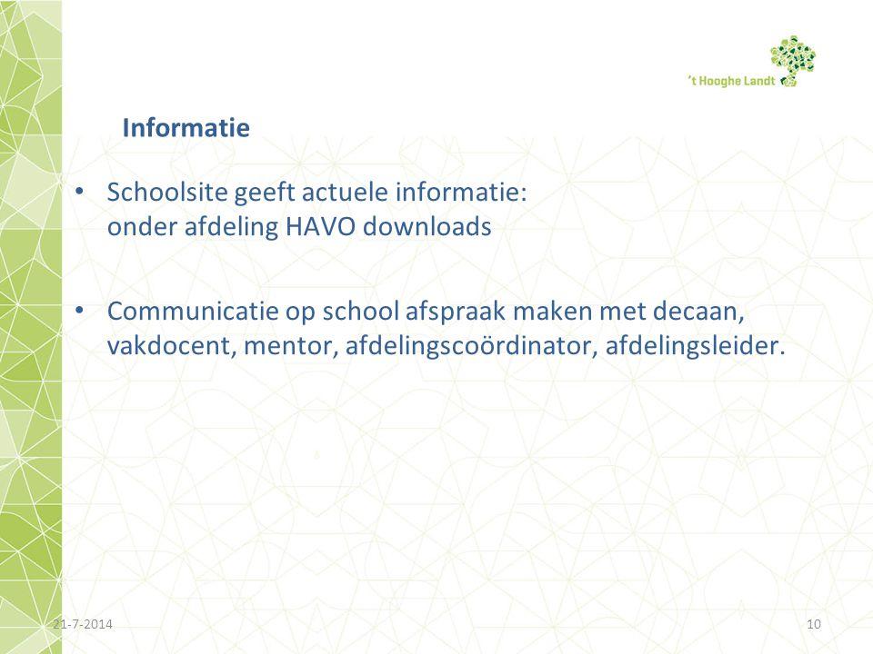 Schoolsite geeft actuele informatie: onder afdeling HAVO downloads