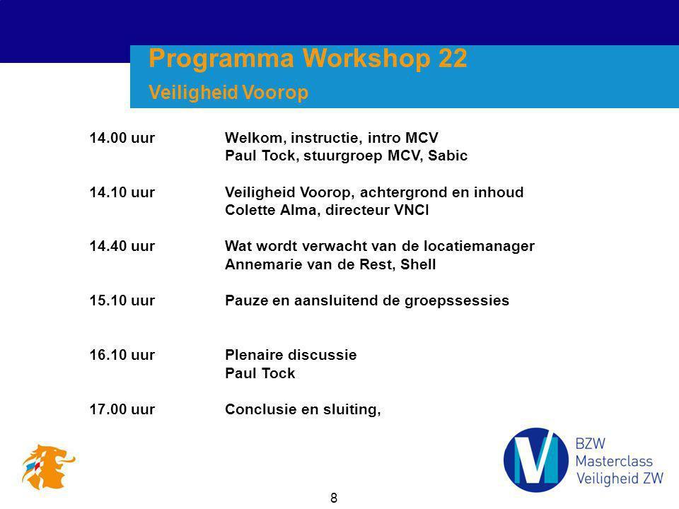 Programma Workshop 22 Veiligheid Voorop