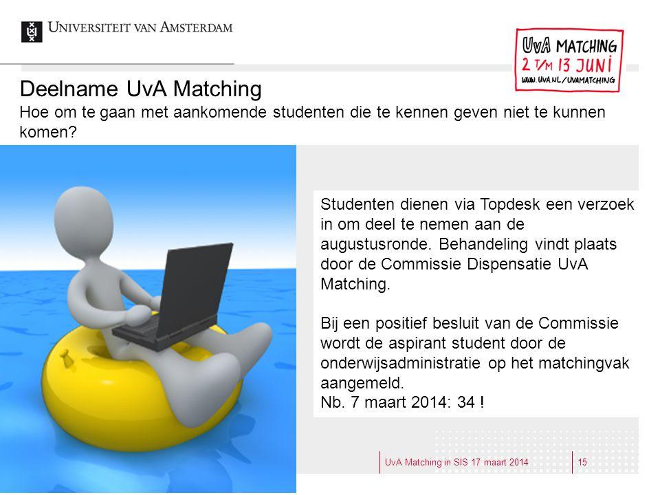 Deelname UvA Matching Hoe om te gaan met aankomende studenten die te kennen geven niet te kunnen komen