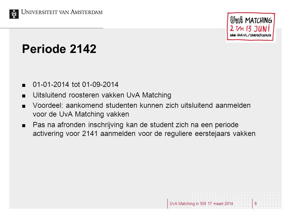 Periode 2142 01-01-2014 tot 01-09-2014. Uitsluitend roosteren vakken UvA Matching.
