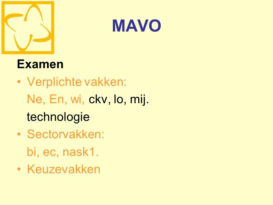 MAVO Examen Verplichte vakken: Ne, En, wi, ckv, lo, mij. technologie