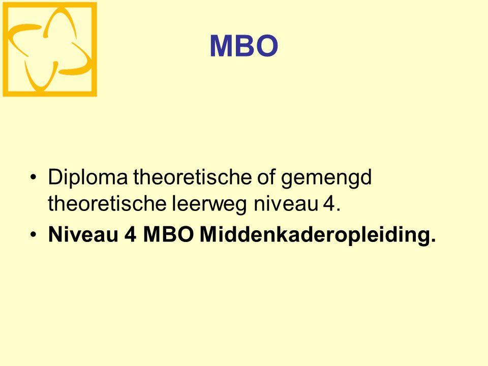 MBO Diploma theoretische of gemengd theoretische leerweg niveau 4.