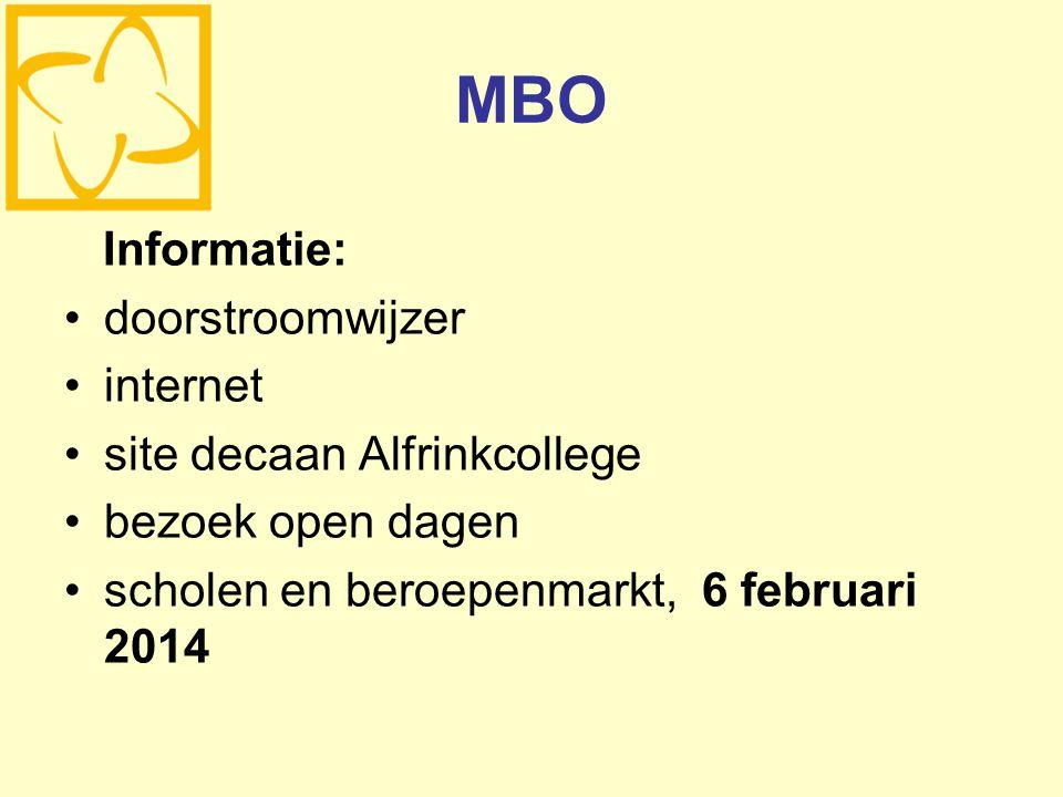 MBO Informatie: doorstroomwijzer internet site decaan Alfrinkcollege