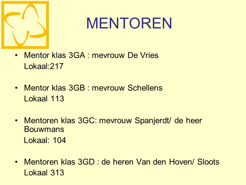 MENTOREN Mentor klas 3GA : mevrouw De Vries Lokaal:217