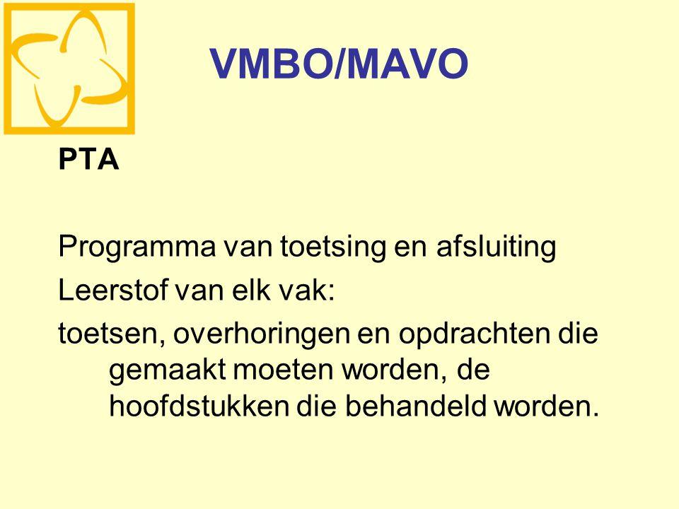 VMBO/MAVO PTA Programma van toetsing en afsluiting
