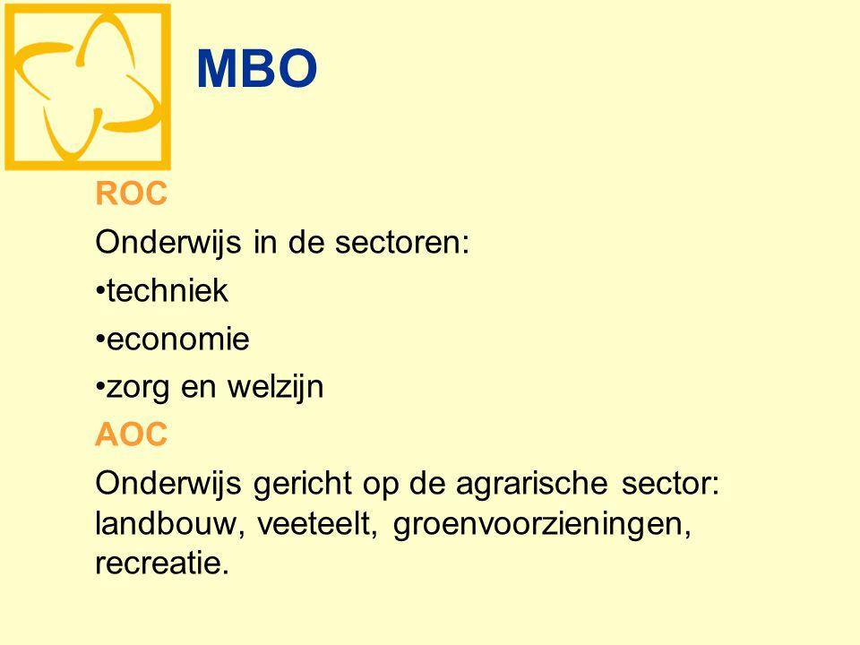 MBO ROC Onderwijs in de sectoren: techniek economie zorg en welzijn