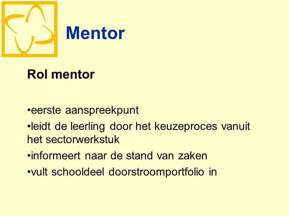 Mentor Rol mentor eerste aanspreekpunt