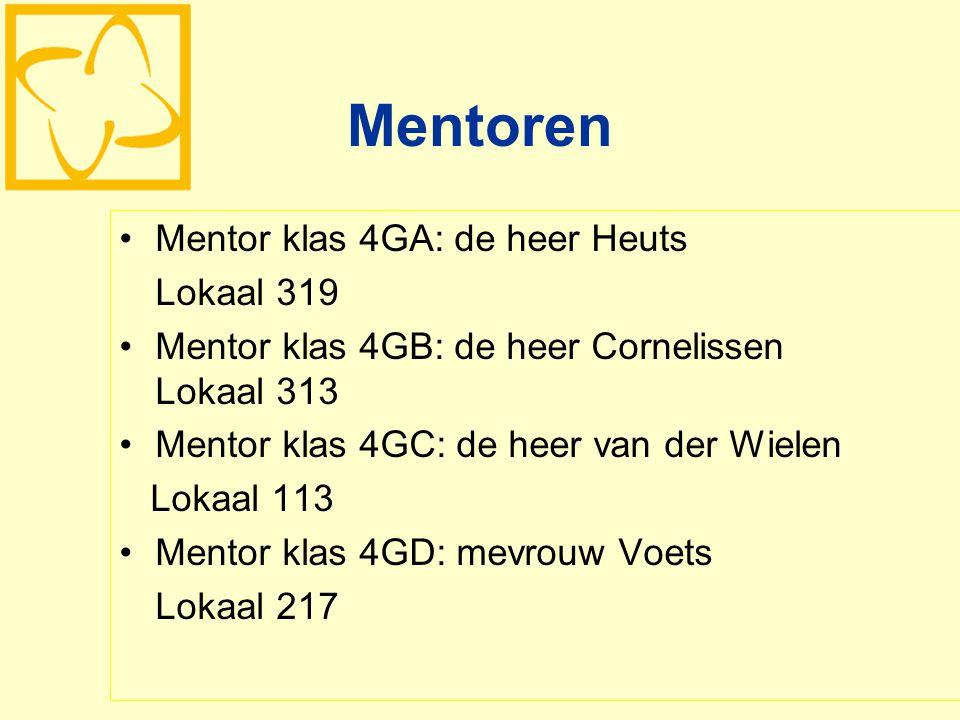 Mentoren Mentor klas 4GA: de heer Heuts Lokaal 319