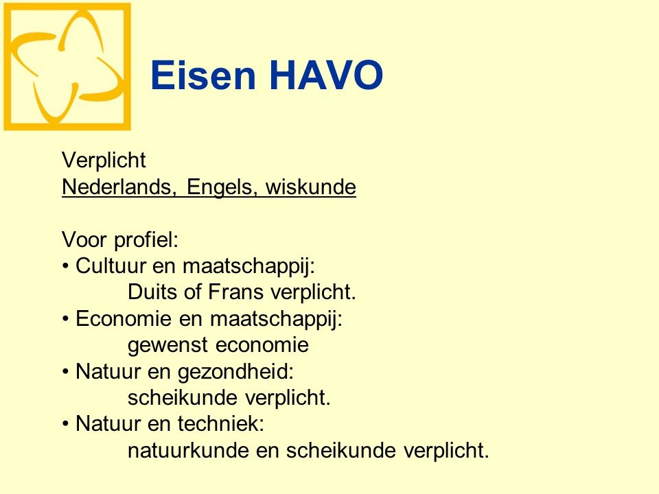 Eisen HAVO Verplicht Nederlands, Engels, wiskunde Voor profiel: