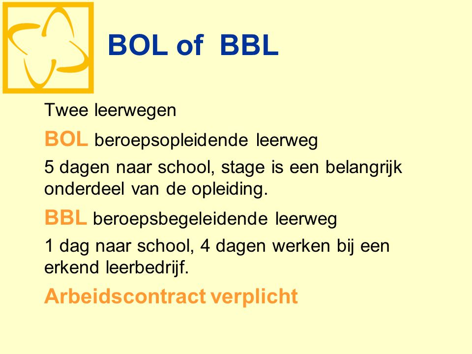 BOL of BBL BOL beroepsopleidende leerweg