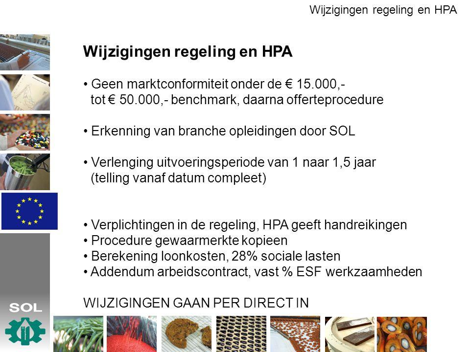 Wijzigingen regeling en HPA