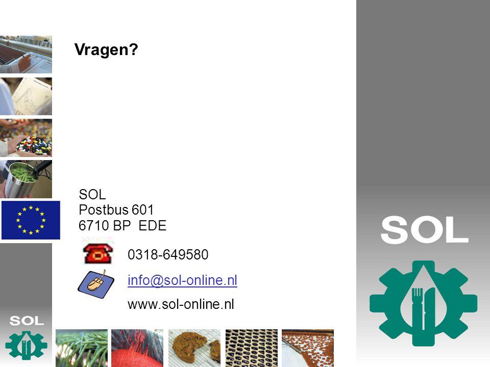 0318-649580 Vragen SOL Postbus 601 6710 BP EDE info@sol-online.nl