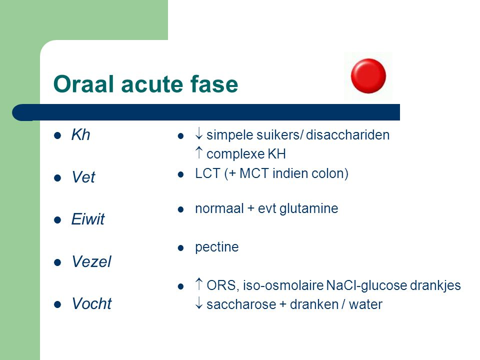 Oraal acute fase Kh Vet Eiwit Vezel Vocht
