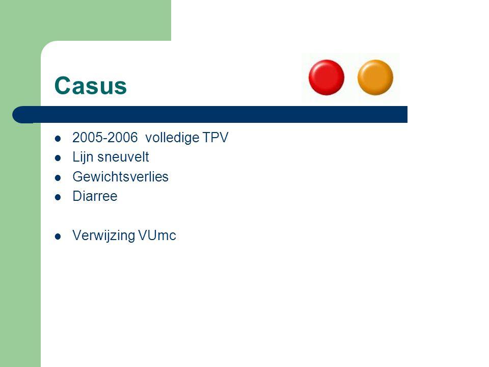 Casus 2005-2006 volledige TPV Lijn sneuvelt Gewichtsverlies Diarree
