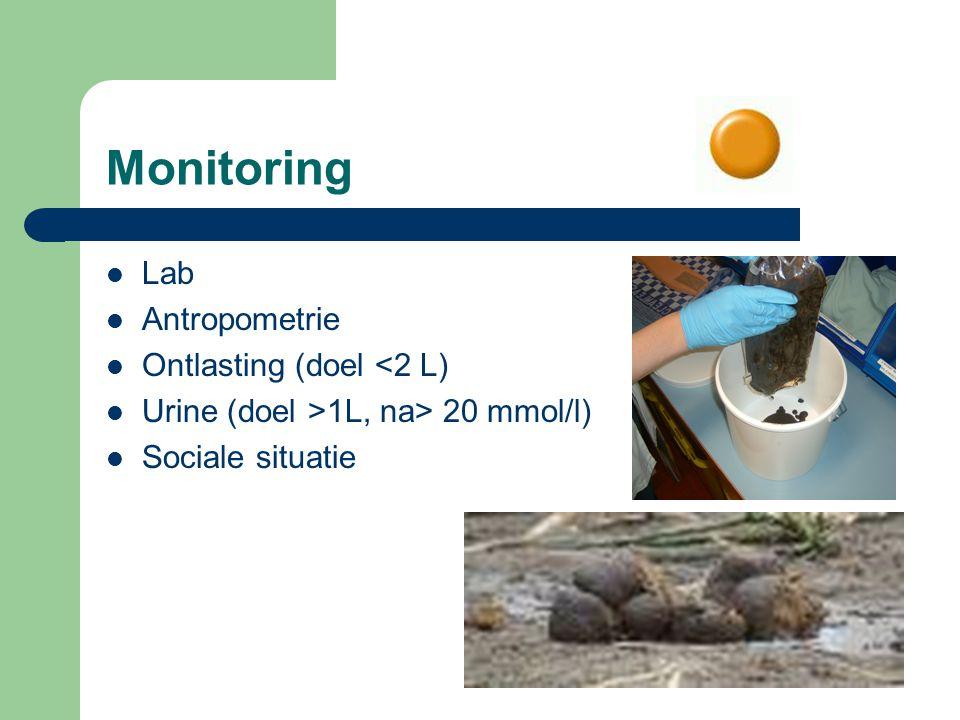 Monitoring Lab Antropometrie Ontlasting (doel <2 L)