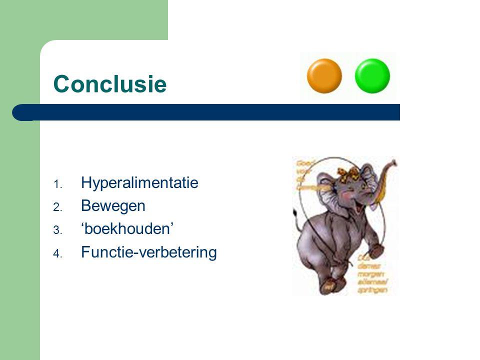 Conclusie Hyperalimentatie Bewegen 'boekhouden' Functie-verbetering