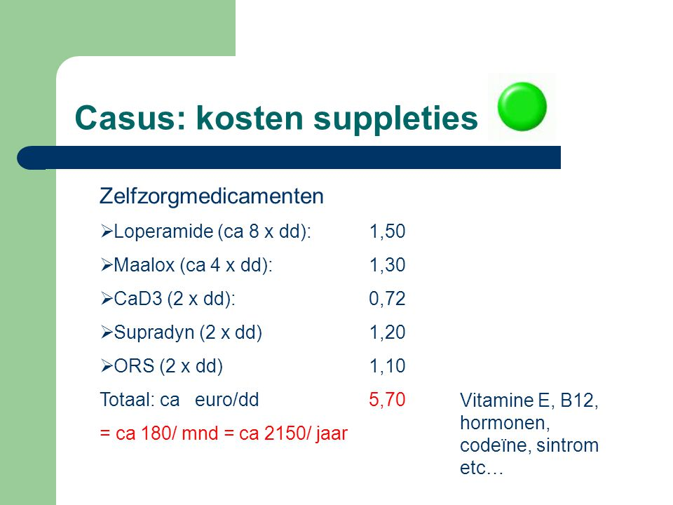 Casus: kosten suppleties