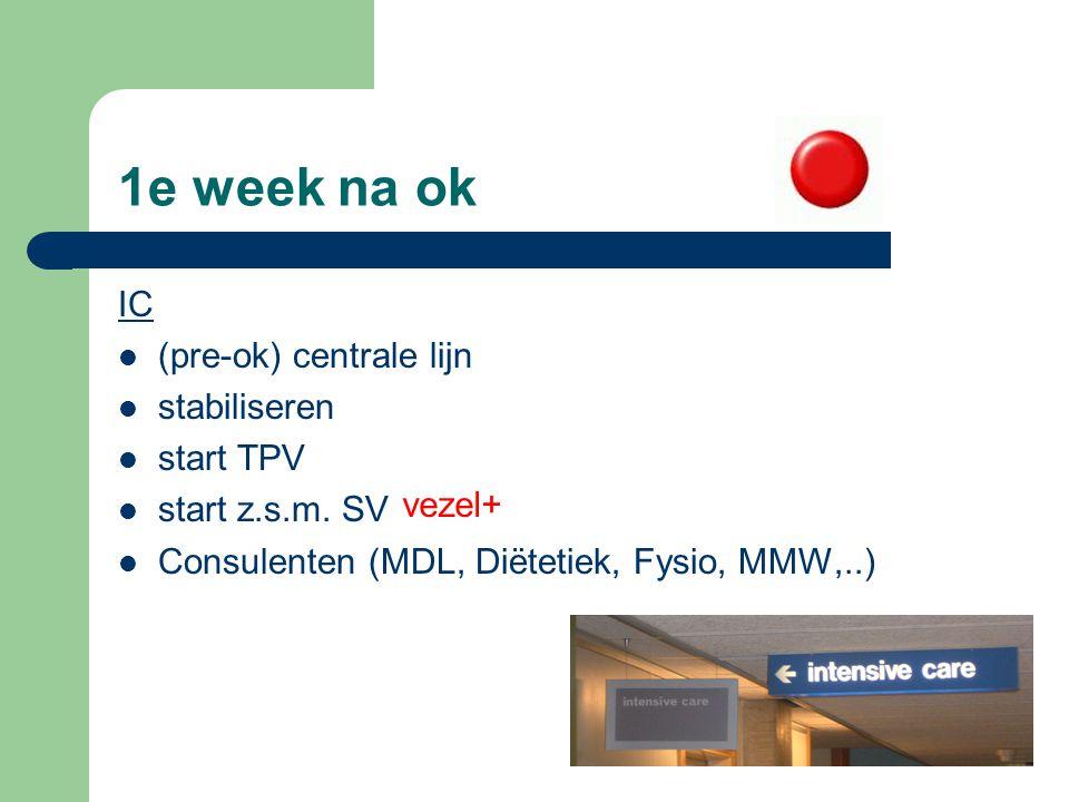 1e week na ok IC (pre-ok) centrale lijn stabiliseren start TPV