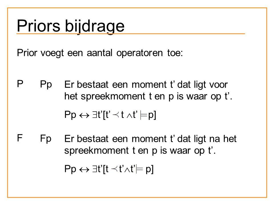 Priors bijdrage Prior voegt een aantal operatoren toe: P Pp