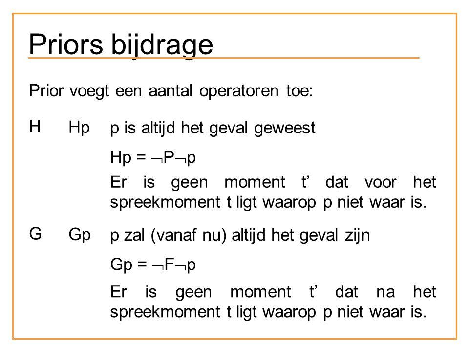 Priors bijdrage Prior voegt een aantal operatoren toe: H Hp